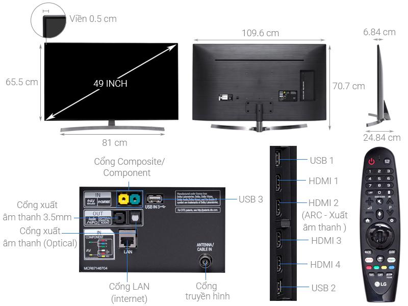 Thông số kỹ thuật Smart Tivi LG 4K 49 inch 49SK8500PTA