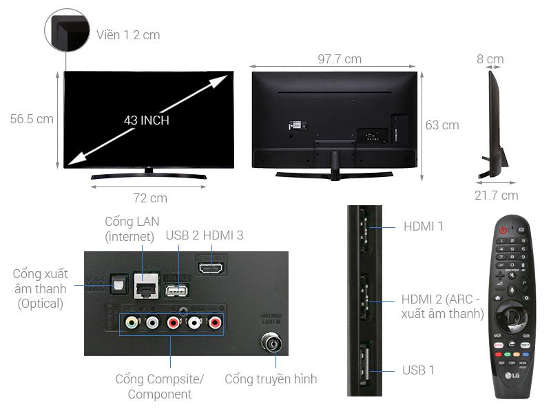 Thông số kỹ thuật Smart Tivi LG 4K 43 inch 43UK6340PTF