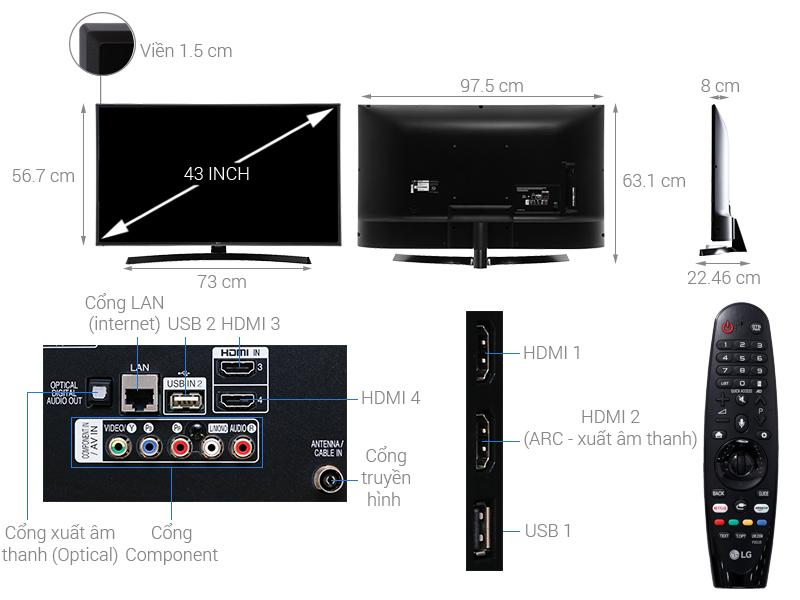 Thông số kỹ thuật Smart Tivi LG 4K 43 inch 43UK6540PTD