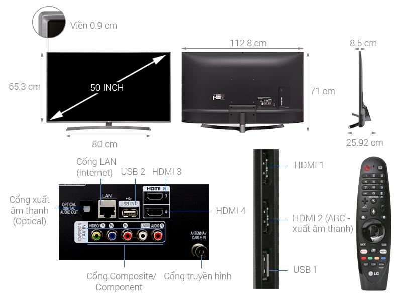 Thông số kỹ thuật Smart Tivi LG 4K 50 inch 50UK6540PTD