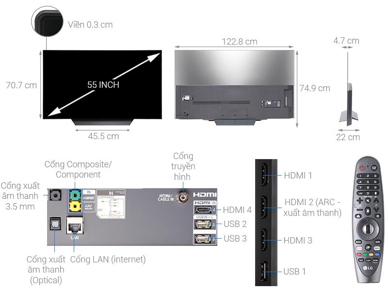 Thông số kỹ thuật Smart Tivi OLED LG 4K 55 inch 55B8PTA