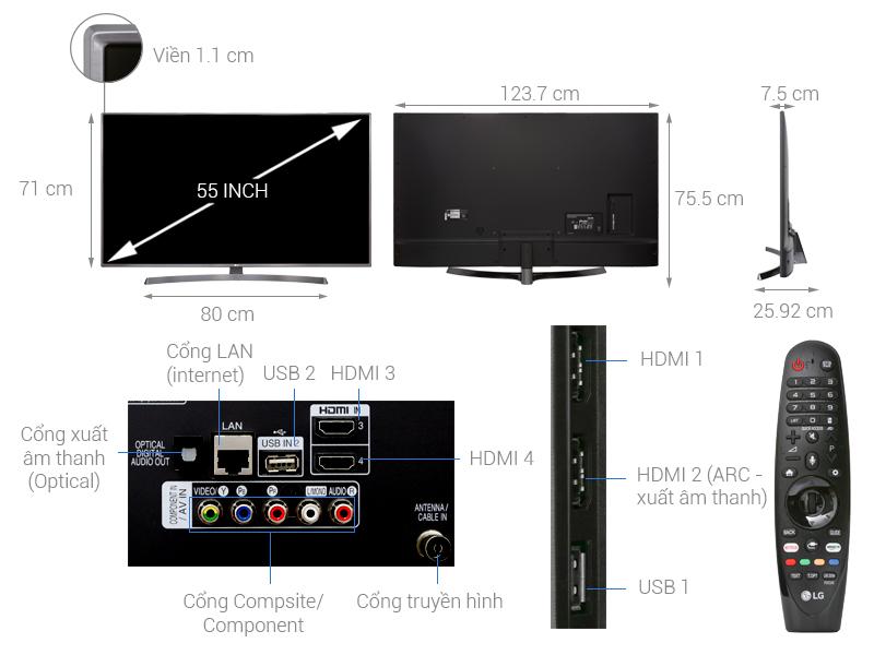 Thông số kỹ thuật Smart Tivi LG 4K 55 inch 55UK6540PTD
