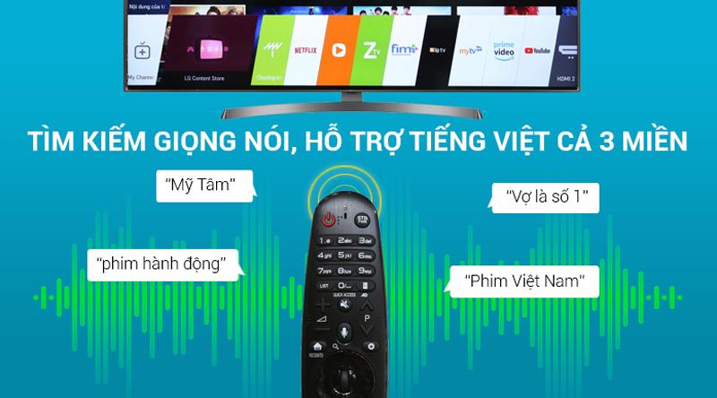 Tìm kím giọng nói bằng tiếng việt trên Smart Tivi LG 4K 65 inch 65UK6540PTD