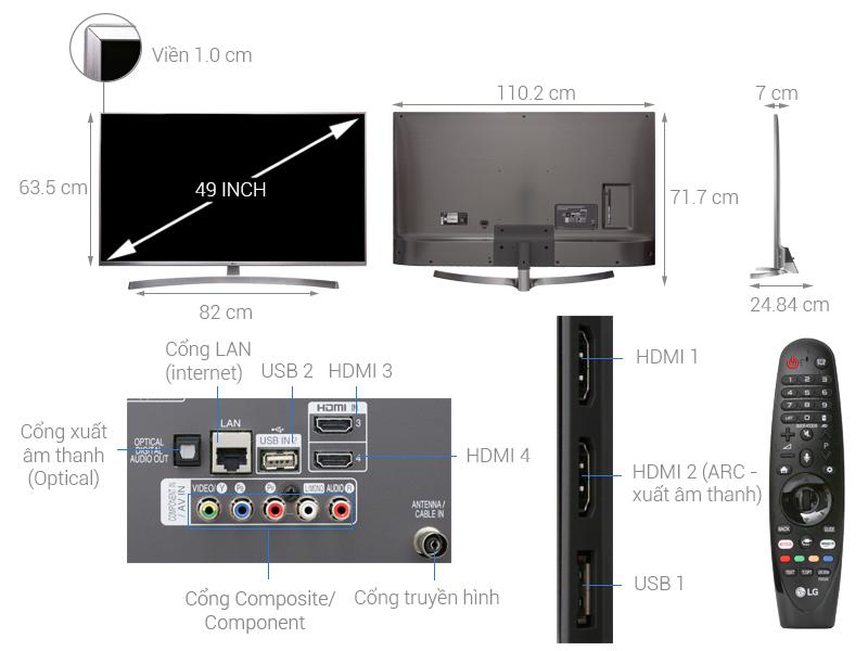 Thông số kỹ thuật Smart Tivi LG 4K 49 inch 49UK7500PTA