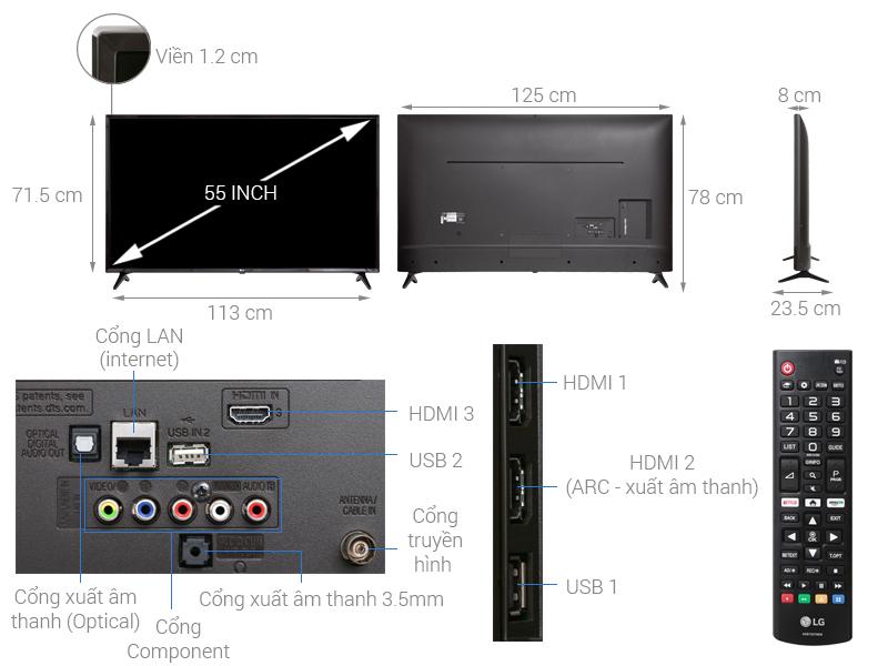 Thông số kỹ thuật Smart Tivi LG 4K 55 inch 55UK6100PTA