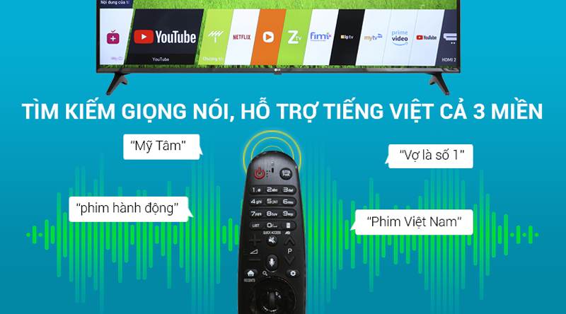 Remote thông minh trên Smart Tivi LG 4K 55 inch 55UK6100PTA