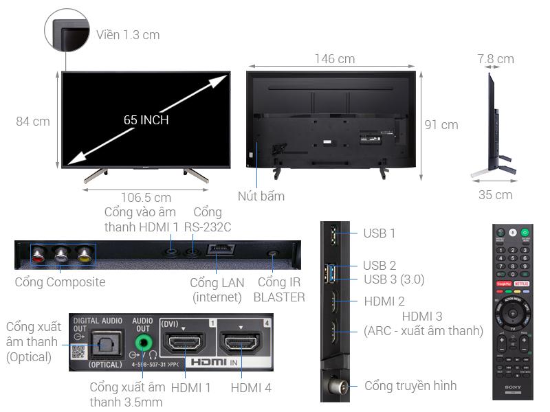 Thông số kỹ thuật Android Tivi Sony 4K 65 inch KD-65X7500F