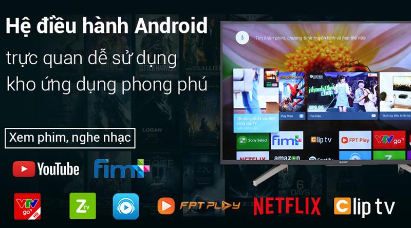 Hệ diều hành Android trên Android Tivi Sony 4K 65 inch KD-65X7500F