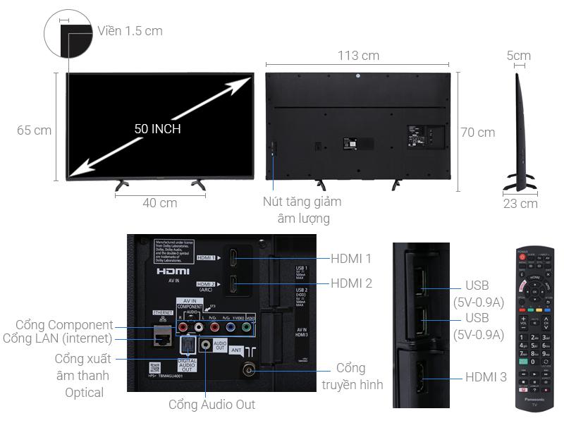 Thông số kỹ thuật Smart Tivi Panasonic 50 inch TH-50FS500V
