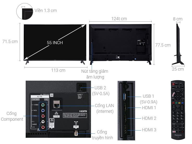 Thông số kỹ thuật Smart Tivi Panasonic 4K 55 inch TH-55FX600V