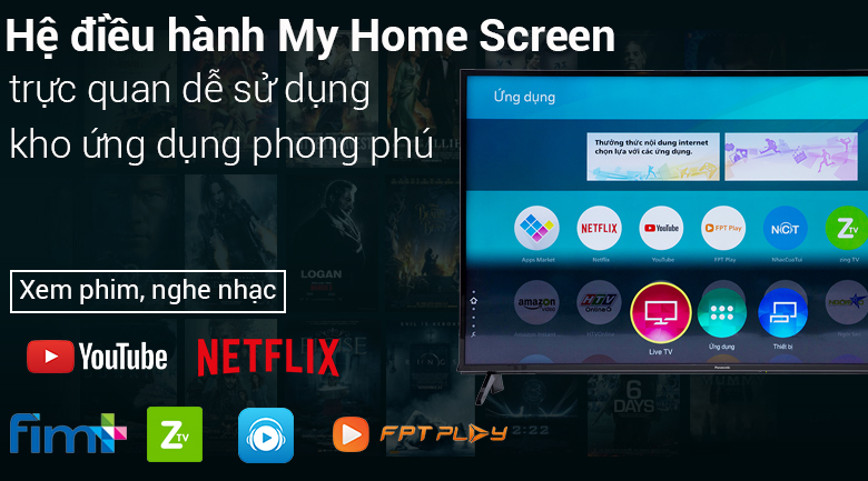 Giao diện My Home Screen trên tivi Smart Tivi Panasonic 4K 55 inch TH-55FX600V