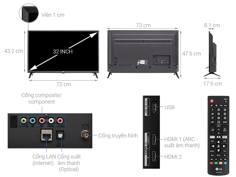 Thông số kỹ thuật Smart Tivi LG 32 inch 32LK540BPTA