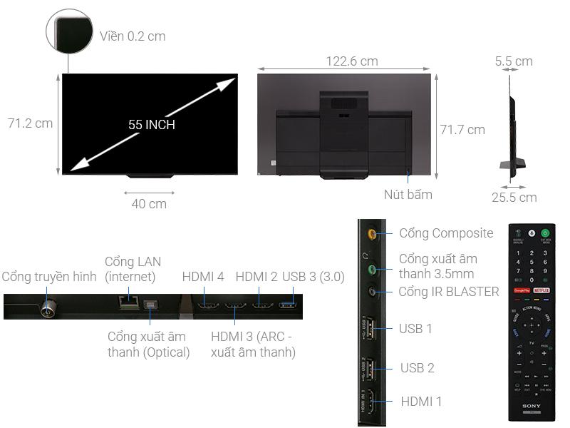 Thông số kỹ thuật Android Tivi OLED Sony 4K 55 inch KD-55A8F