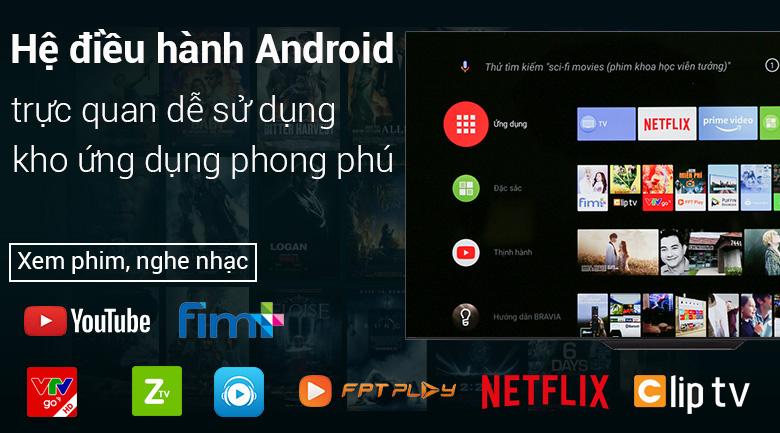 Android Tivi OLED Sony 4K 55 inch KD-55A8F - Hệ điều hành Android 8.0 phổ biến, dễ sử dụng
