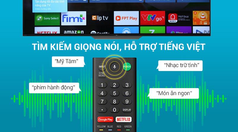 Remote thông minh tìm kiếm giọng nói trên Android Tivi OLED Sony 4K 55 inch KD-55A8F