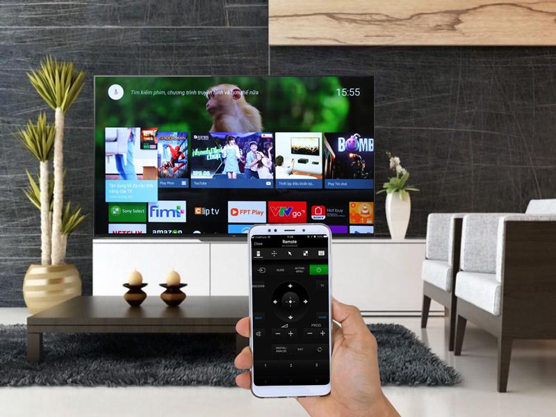 Điều khiển Android Tivi OLED Sony 4K 55 inch KD-55A8F bằng điện thoại