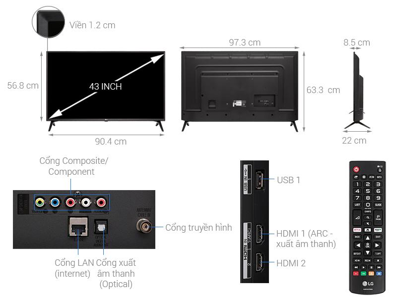 Thông số kỹ thuật Smart Tivi LG 43 inch 43LK5400PTA