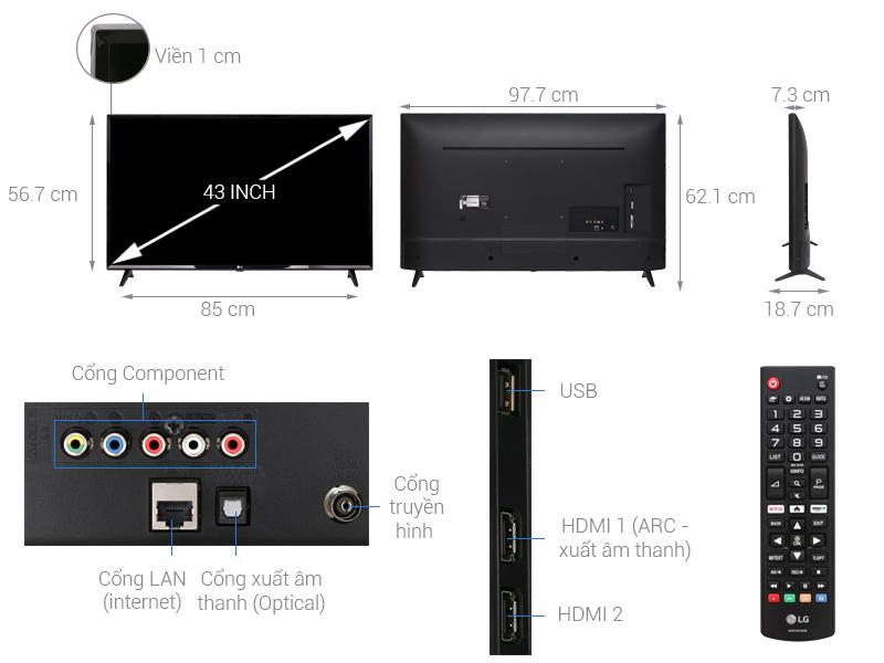 Thông số kỹ thuật Smart Tivi LG 43 inch 43LK5700PTA