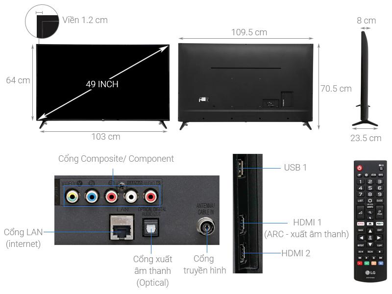 Thông số kỹ thuật Smart Tivi LG 49 inch 49LK5700PTA