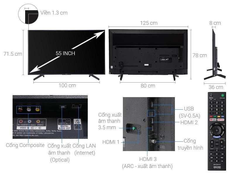 Thông số kỹ thuật Smart Tivi Sony 4K 55 inch KD-55X7000F
