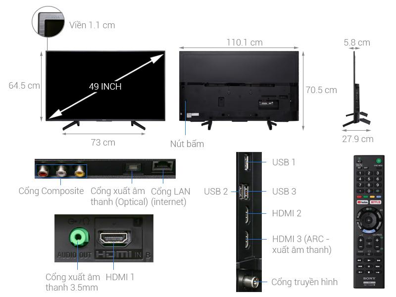 Thông số kỹ thuật Smart Tivi Sony 4K 49 inch KD-49X7000F