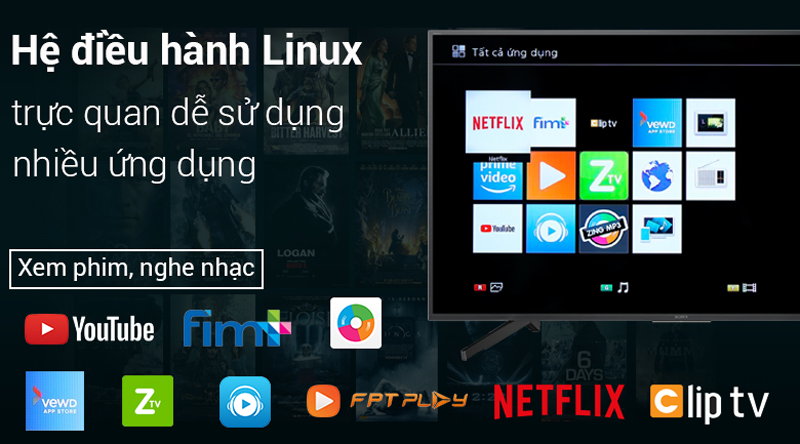Kho ứng dụng vewd trên Smart Tivi Sony 4K 49 inch KD-49X7000F