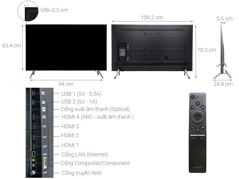 Thông số kỹ thuật Smart Tivi QLED Samsung 4K 49 inch QA49Q6FN