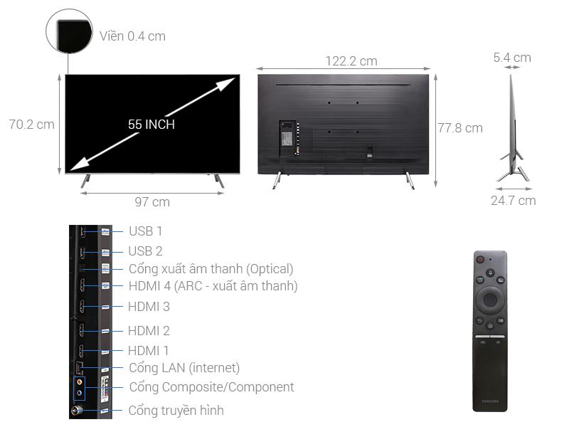 Thông số kỹ thuật Smart Tivi QLED Samsung 4K 55 inch QA55Q6FN