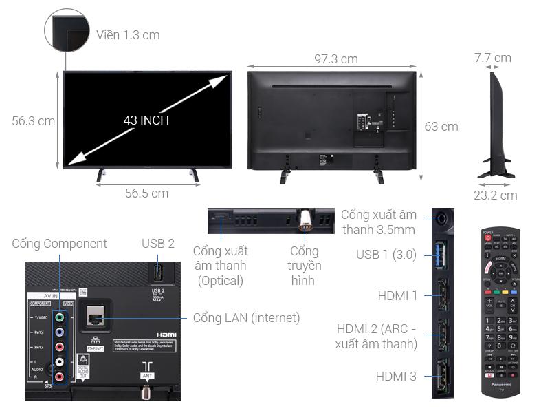 Thông số kỹ thuật Smart Tivi Panasonic 4K 43 inch TH-43FX500V