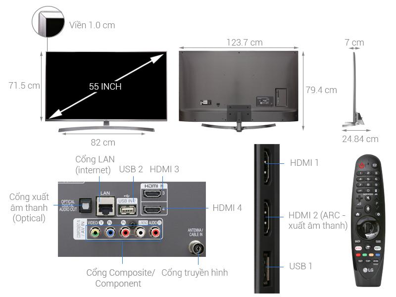 Thông số kỹ thuật Smart Tivi LG 4K 55 inch 55UK7500PTA