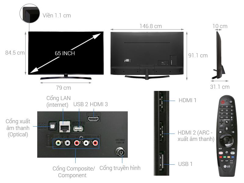 Thông số kỹ thuật Smart Tivi LG 4K 65 inch 65UK6340PTF