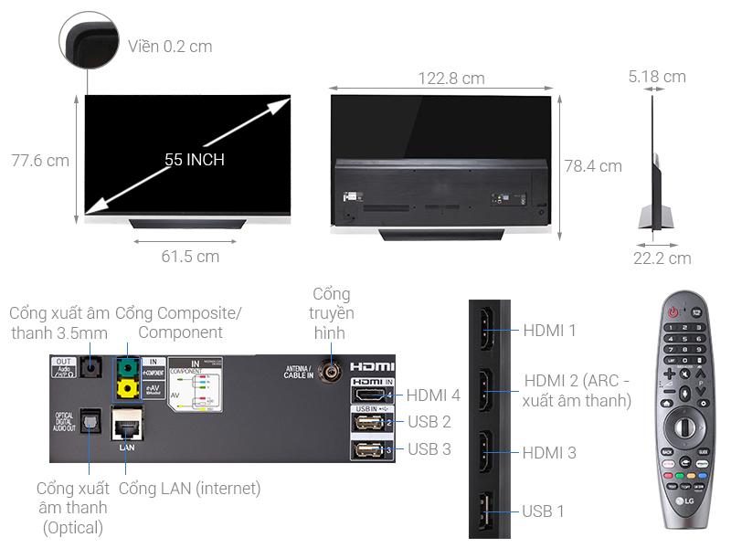 Thông số kỹ thuật Smart Tivi OLED LG 4K 55 inch 55E8PTA