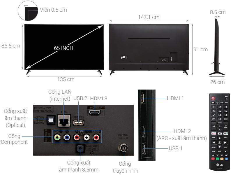 Thông số kỹ thuật Smart Tivi LG 4K 65 inch 65UK6100PTA