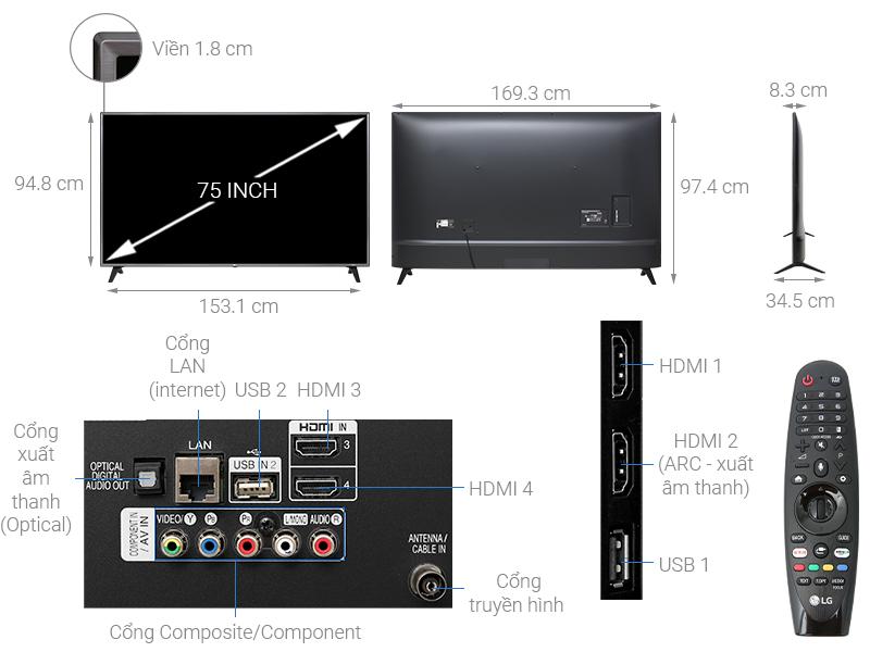 Thông số kỹ thuật Smart Tivi LG 4K 75 inch 75UK6500PTB