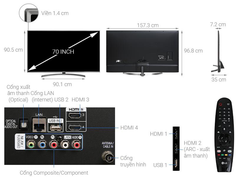 Thông số kỹ thuật Smart Tivi LG 4K 70 inch 70UK6540PTA