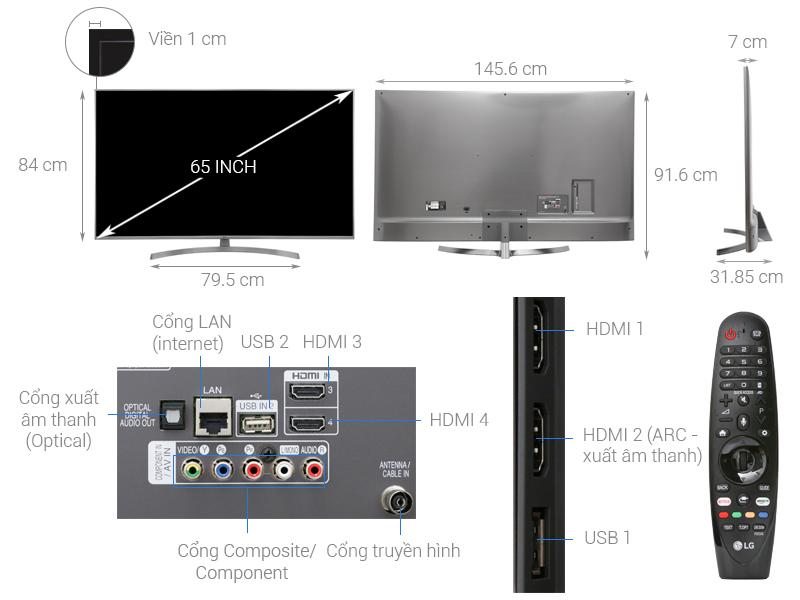 Thông số kỹ thuật Smart Tivi LG 4K 65 inch 65UK7500PTA