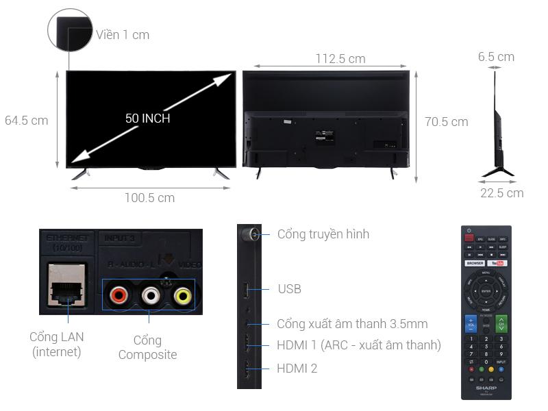 Thông số kỹ thuật Smart Tivi Sharp 50 inch LC-50SA5500X
