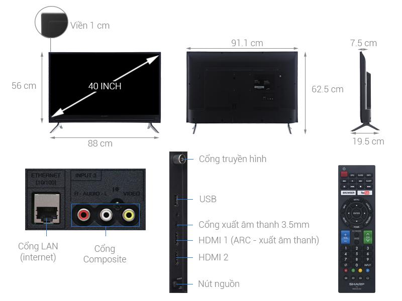 Thông số kỹ thuật Smart Tivi Sharp 40 inch LC-40SA5500X
