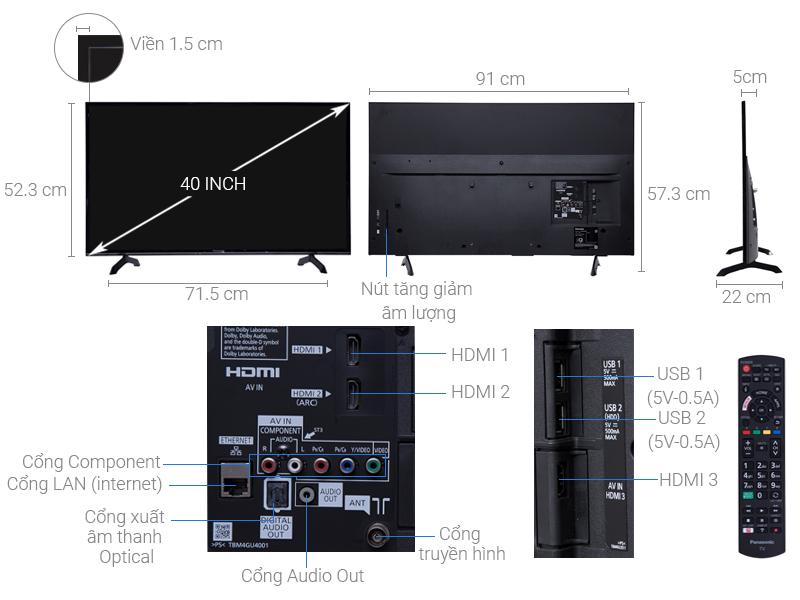 Thông số kỹ thuật Smart Tivi Panasonic 40 inch TH-40FS500V