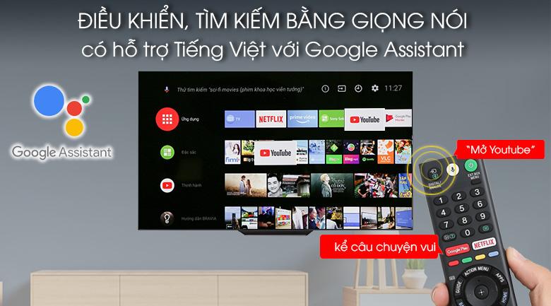 Tivi điều khiển, tìm kiếm bằng giọng nói tiếng Việt - Android Tivi OLED Sony 4K 65 inch KD-65A8F