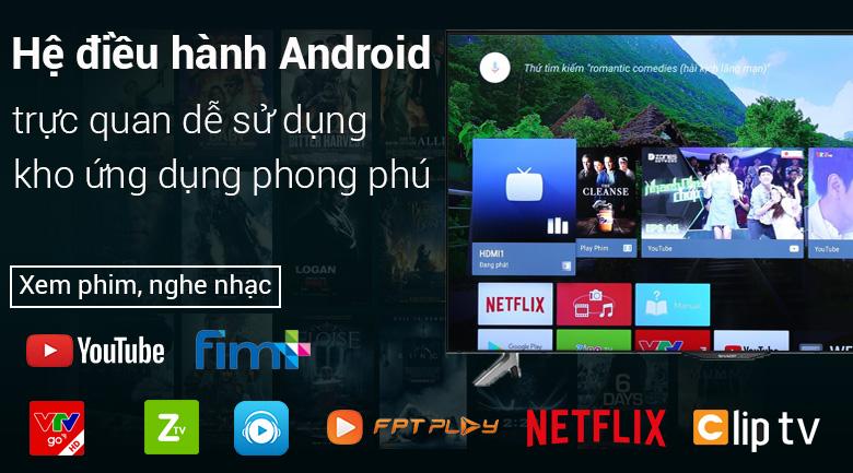 Android Tivi Sharp 4K 50 inch LC-50UA6800X - hệ điều hành Android