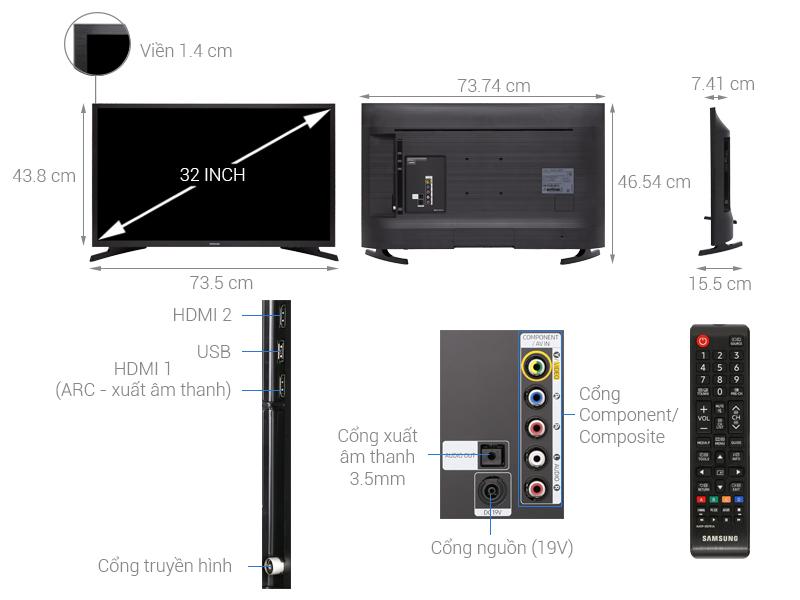 Thông số kỹ thuật Tivi Samsung 32 inch UA32N4000