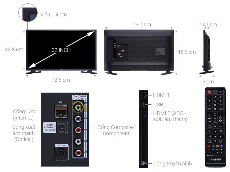 Thông số kỹ thuật Smart Tivi Samsung 32 inch UA32N4300