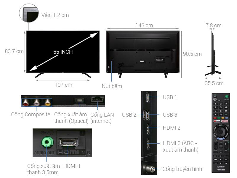 Thông số kỹ thuật Smart Tivi Sony 4K 65 inch KD-65X7000F