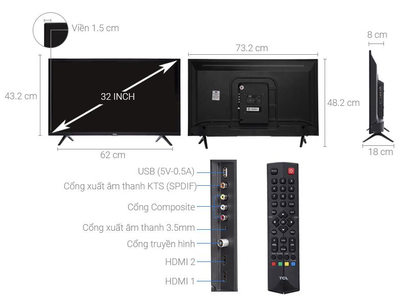 Thông số kỹ thuật Tivi TCL 32 inch L32D3000