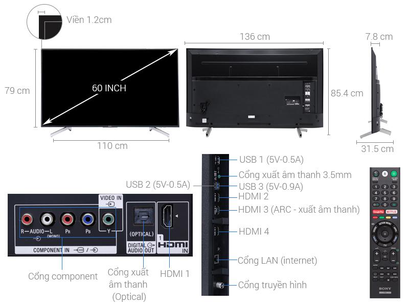 Thông số kỹ thuật Android Tivi Sony 4K 60 inch KD-60X8300F