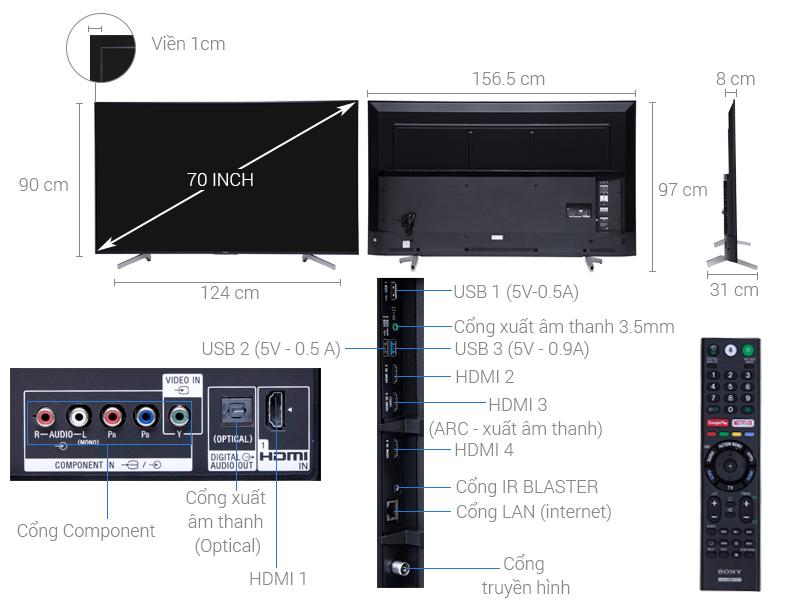 Thông số kỹ thuật Android Tivi Sony 4K 70 inch KD-70X8300F