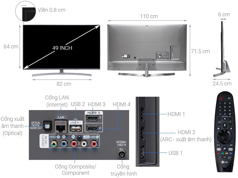 Thông số kỹ thuật Smart Tivi LG 4K 49 inch 49SK8000PTA