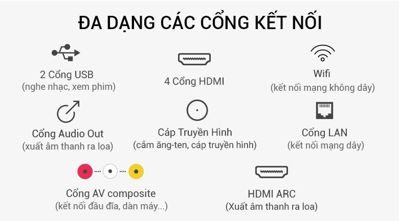 Hỗ trợ nhiều cổng kết nối trên Smart Tivi LG 4K 49 inch 49SK8000PTA