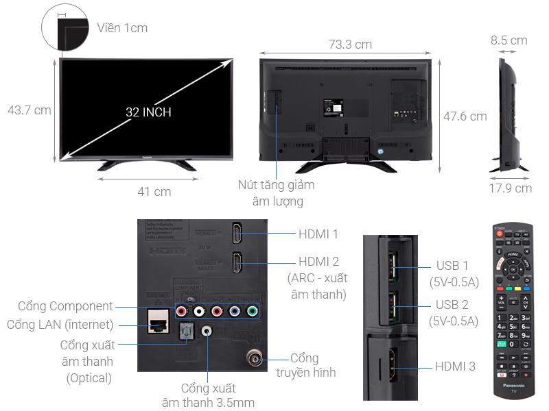 Thông số kỹ thuật Smart Tivi Panasonic 32 inch TH-32FS500V